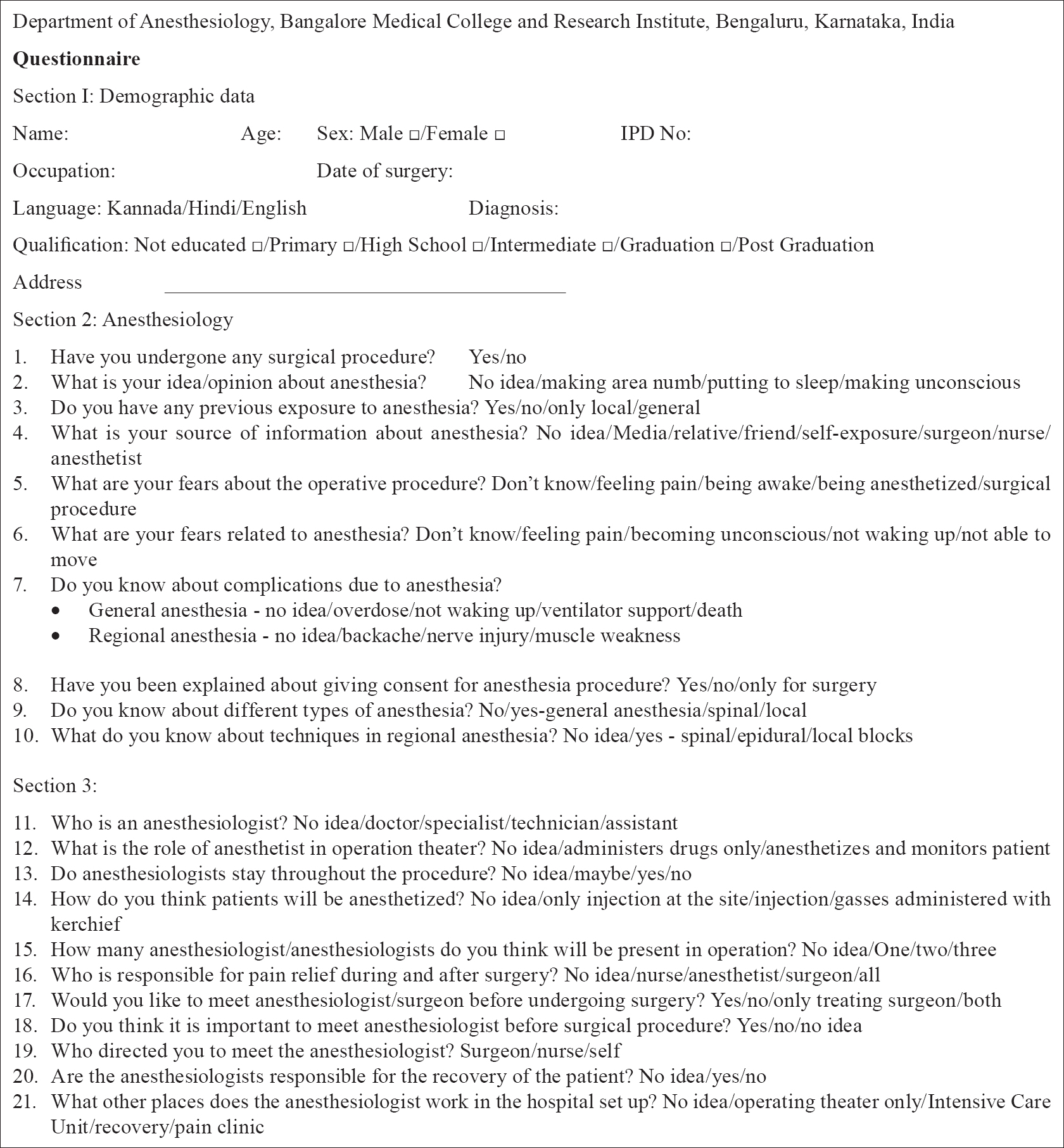 anesthesia essays and researches table of contents a survey on awareness about the role of anesthesia - Academic Resume Template