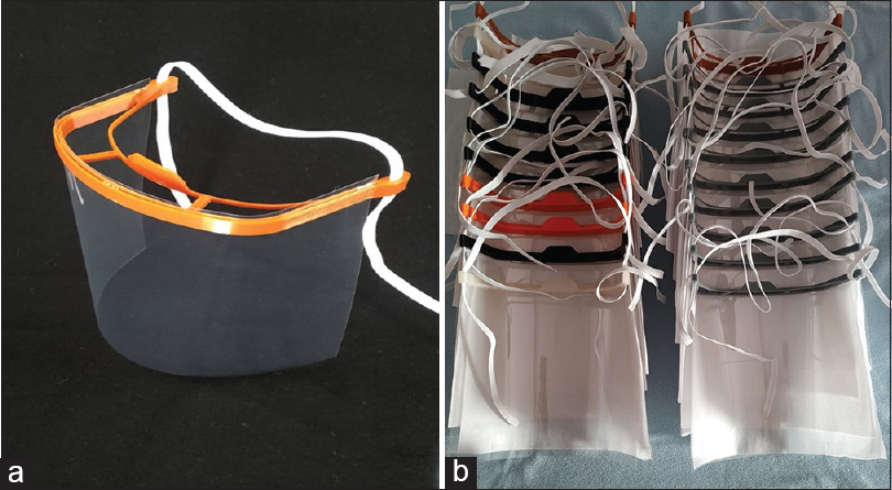 Figure 2: Locally manufactured three-dimensional medical face shield (a) single (b) cluster